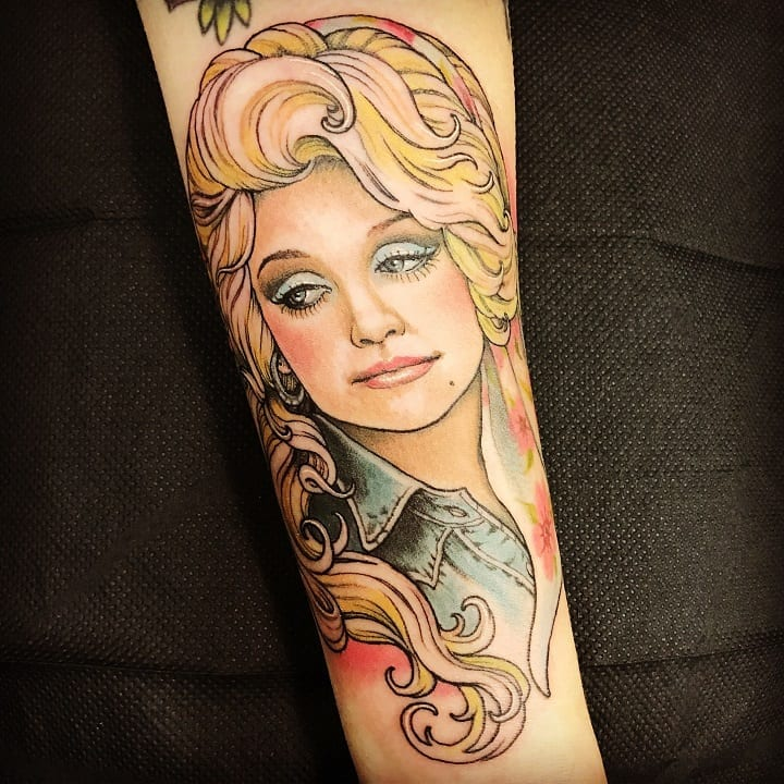 f0594303f763fb Her fans have honored her by getting large portraits of Parton on their  bodies. Dolly might not have lots of tattoos